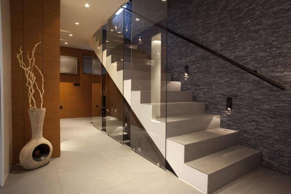 33 Flamboyant Modern Staircase Designs: opening glass walls