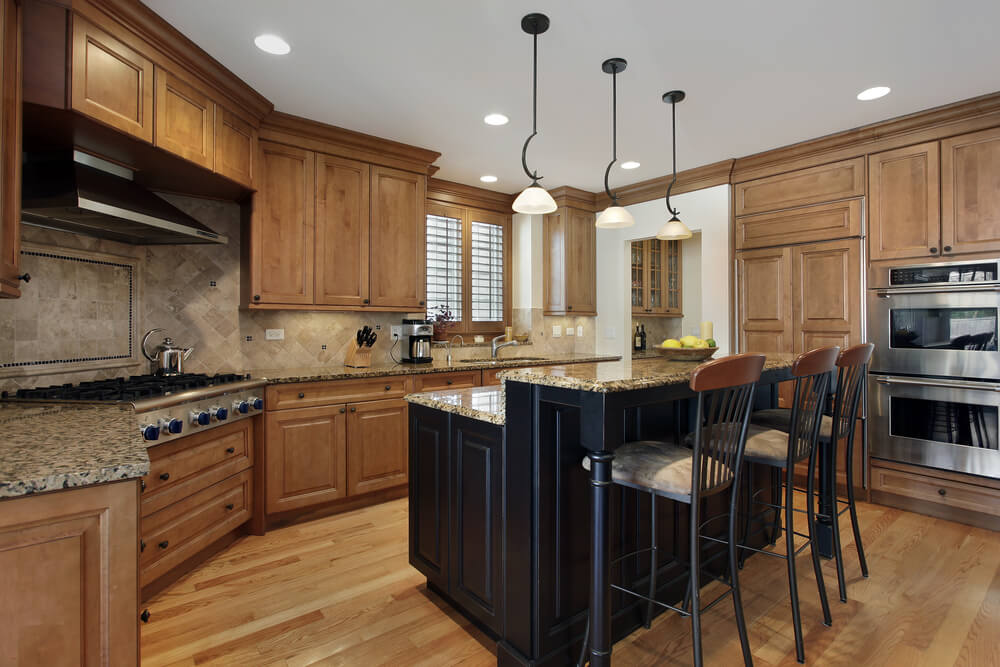 Enclosed Custom Kitchen Design. Main Kitchen Cabinets In Natural Wood. 2 Tiered  Kitchen