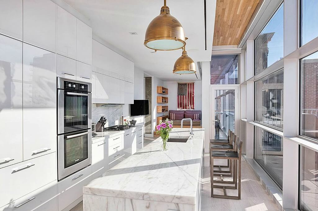 Superior Another Naturally Bright Kitchen Featuring Floor To Ceiling Windows, This  Long Space Employs Light Toned Part 9