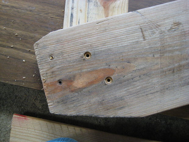 Drill pilot holes, countersink, then attach the rear back support.