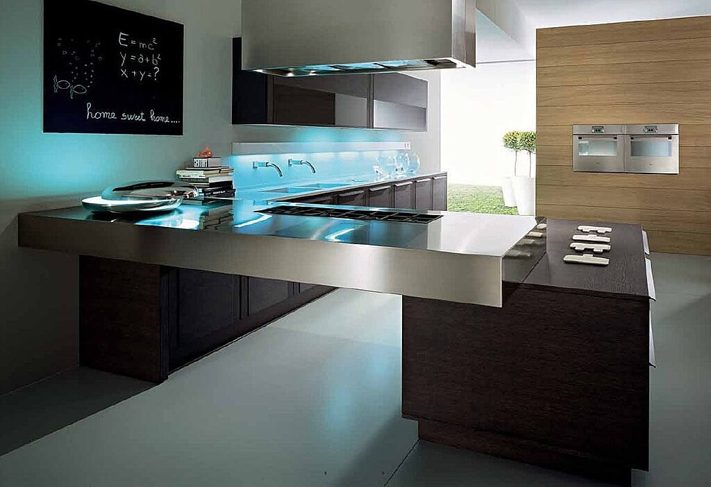 Ultra Modern Look Here Includes Metal Countertop Creating A Bridge To Island Backsplah