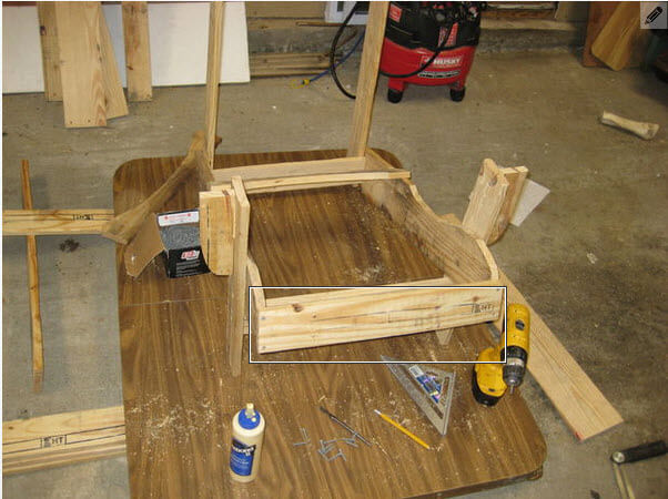 "Attach the 20"" front seat board"