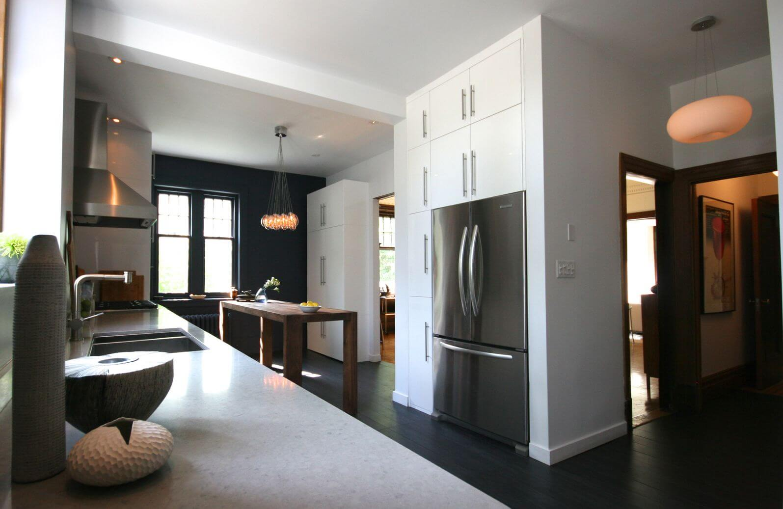White Galley Kitchen With Black Appliances 40 inviting contemporary custom kitchen designs & layouts
