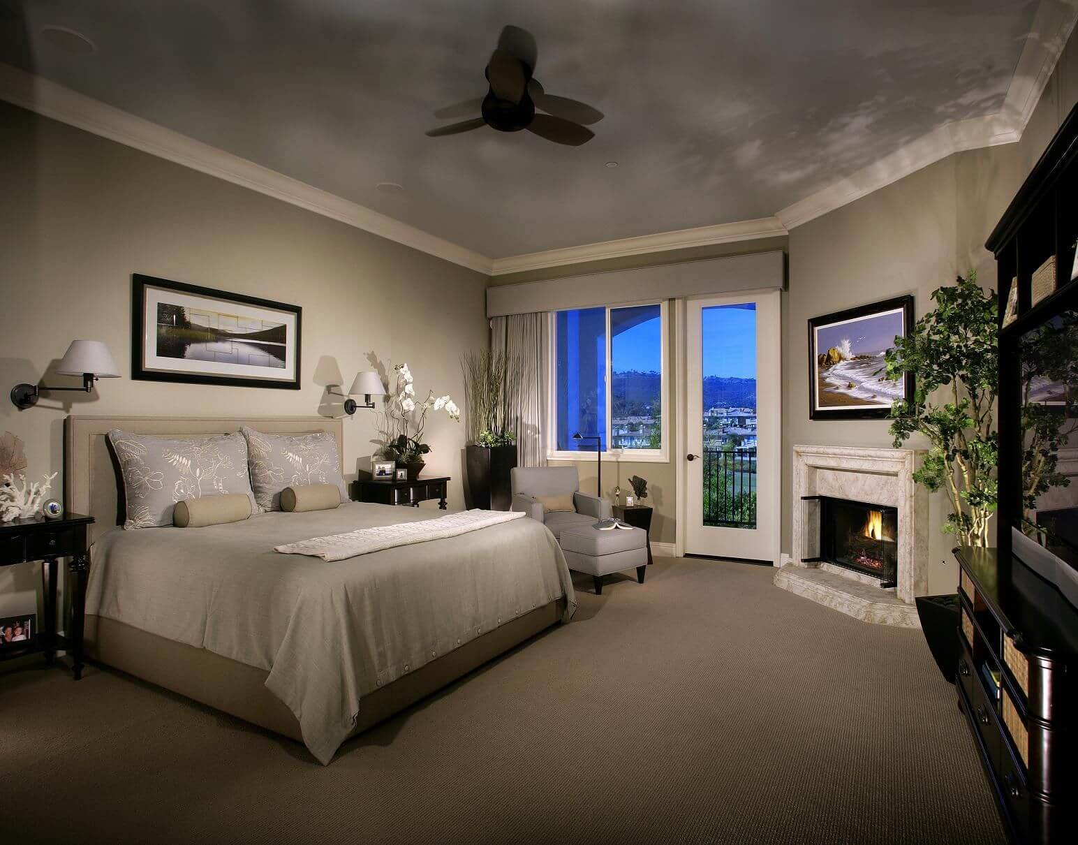 Bedroom sitting area with fireplace - Chaise Lounge Facing Fireplace In Luxury Master Bedroom