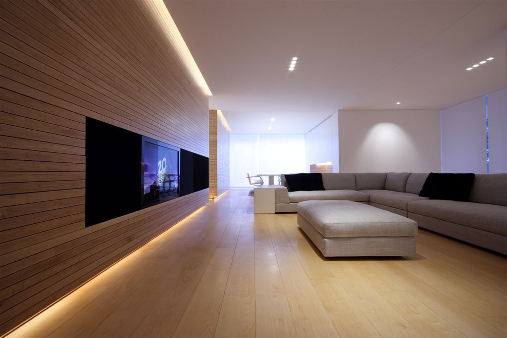 Living room featuring light hardwood flooring and darker wall paneling, with TV embedded in media strip.