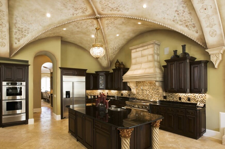 Here We Have A Large, Painted Arched Ceiling Over Dark Toned Wood Cabinetry  And Black