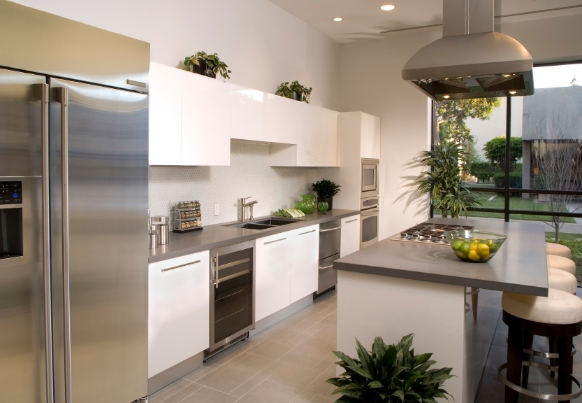 Naturally Lit Kitchen Features Floor To Ceiling Window In Background, With  Glossy White Cabinetry Punctuated Part 84