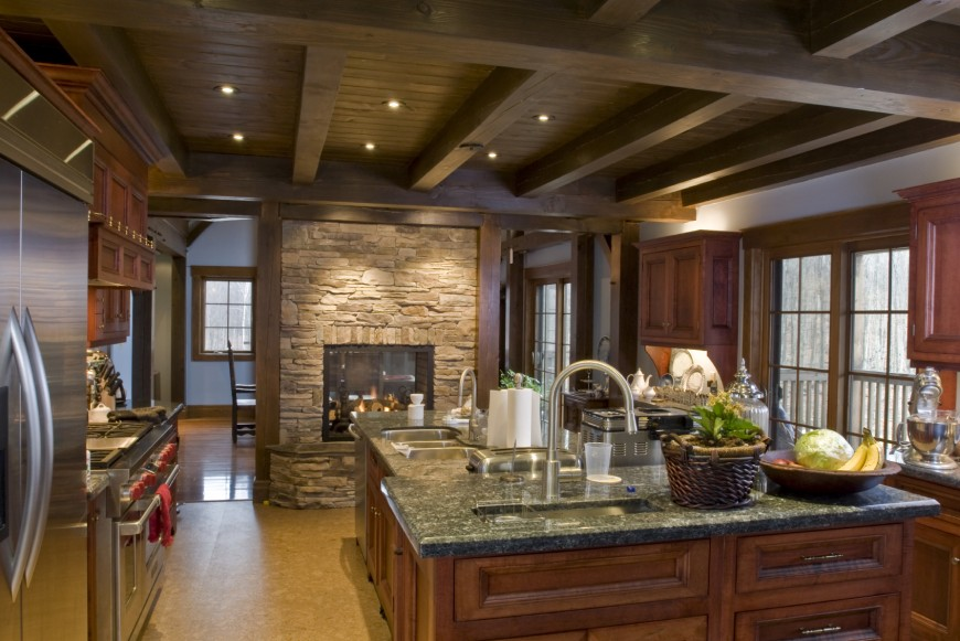 Rustic Look In This Room Is Granted By Exposed Ceiling Beams Rich Wood Tones On