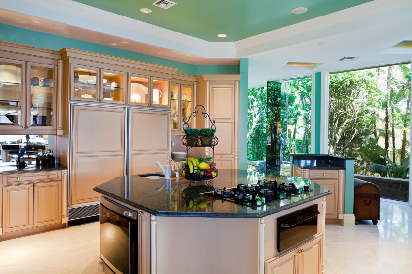 Tropical Island Kitchen : Bright green paint adds a tropical element to this kitchen decked out ...