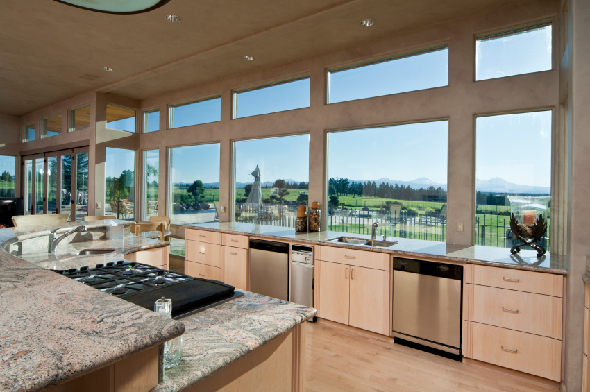 Salmon Hued Cabinetry Over Light Natural Wood Flooring Warm This Kitchen  With Concrete Walls And Marble Part 58