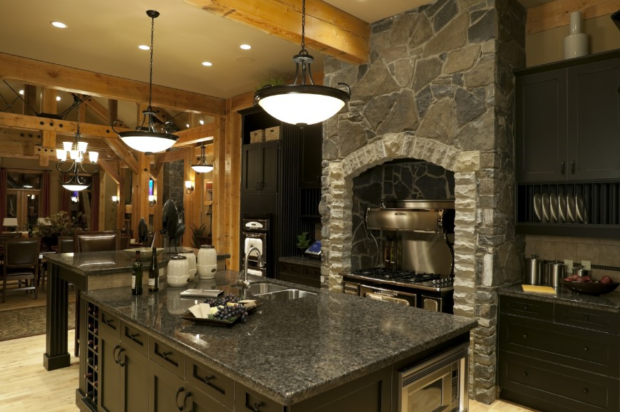 This Kitchen Features Black Cabinetry Natural Wood Exposed Beams
