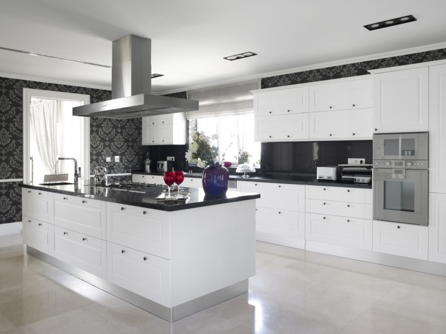 This Ultra Modern Kitchen Features A Stark Mixture Of Pure White Cabinetry  Jet Black Countertops Part 30