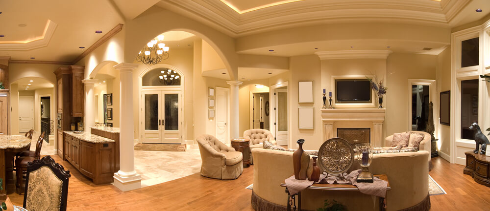 expansive space encompassing kitchen dining and living room circles entryway in this home - Expansive Living Room Interior