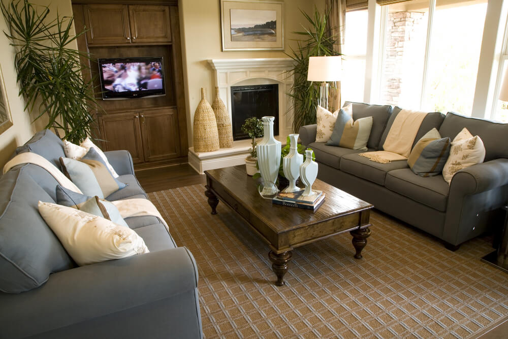 Highlighted By Blue Twin Couches, This Lighter Toned Living Room Features A  Traditional Stained Wood Part 75