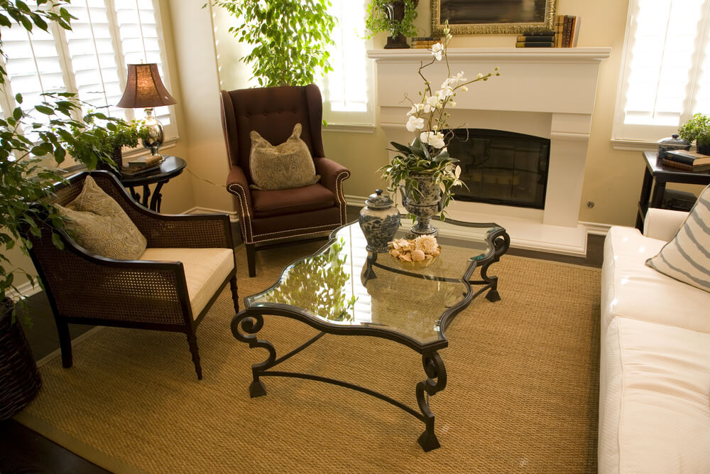 Compact Living Room Featuring Large White Fireplace, Tan Rug, And Glass  Coffee Table With Part 65
