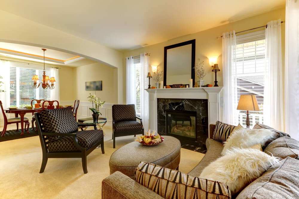 Here We Have A Second Angle Of The Cozy Living Room Showcasing Marble Fireplace