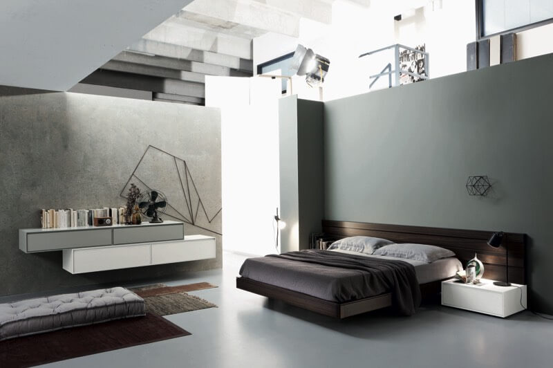 this ultra modern bedroom design features minimalist grey landscape in which theyve placed standout