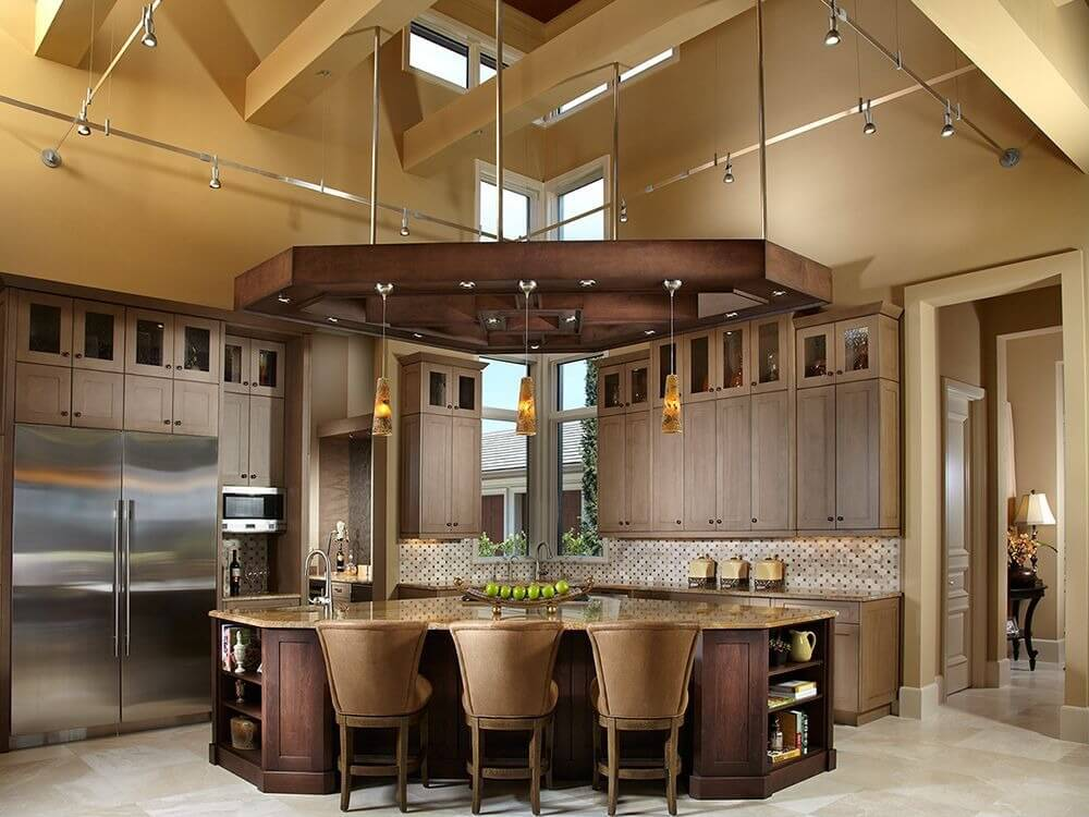 49 contemporary high end natural wood kitchen designs for Different shaped kitchen island designs with seating