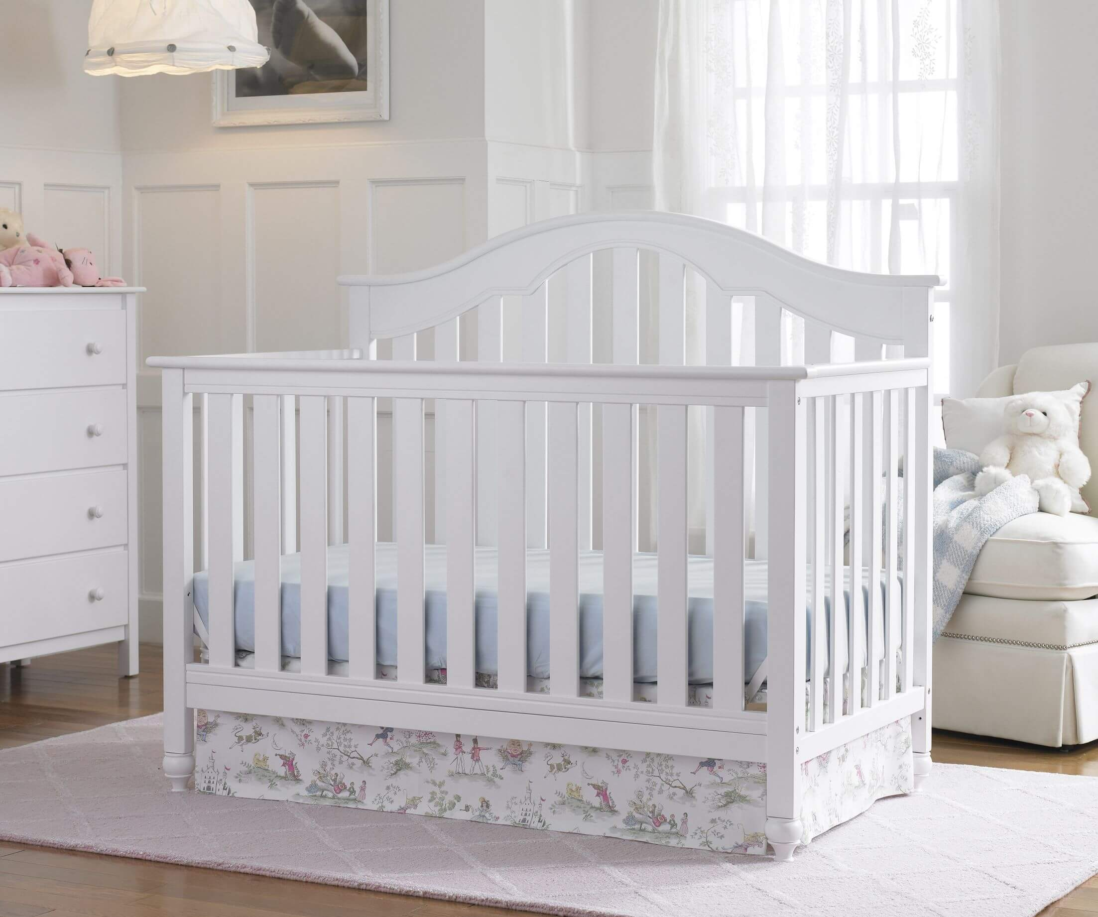 Baby cribs with matching dresser - Pure White Tones On Wood Crib And Matching Dresser Walls And Drapes Unify This