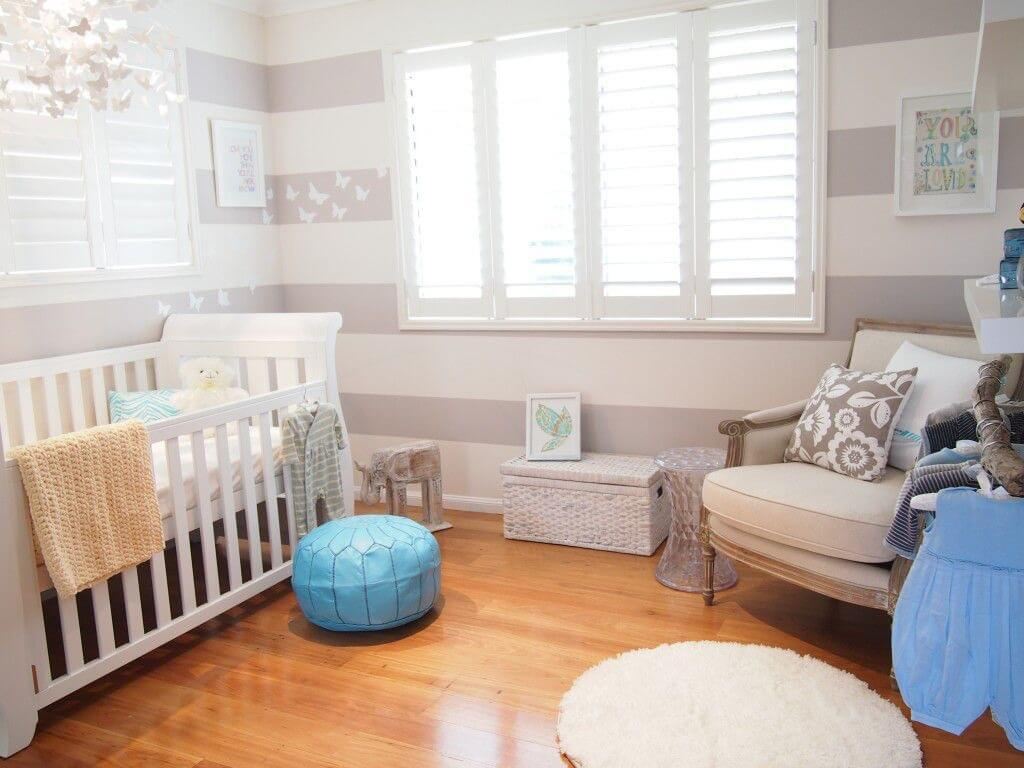 Baby Blue Striped Boys Room Walls