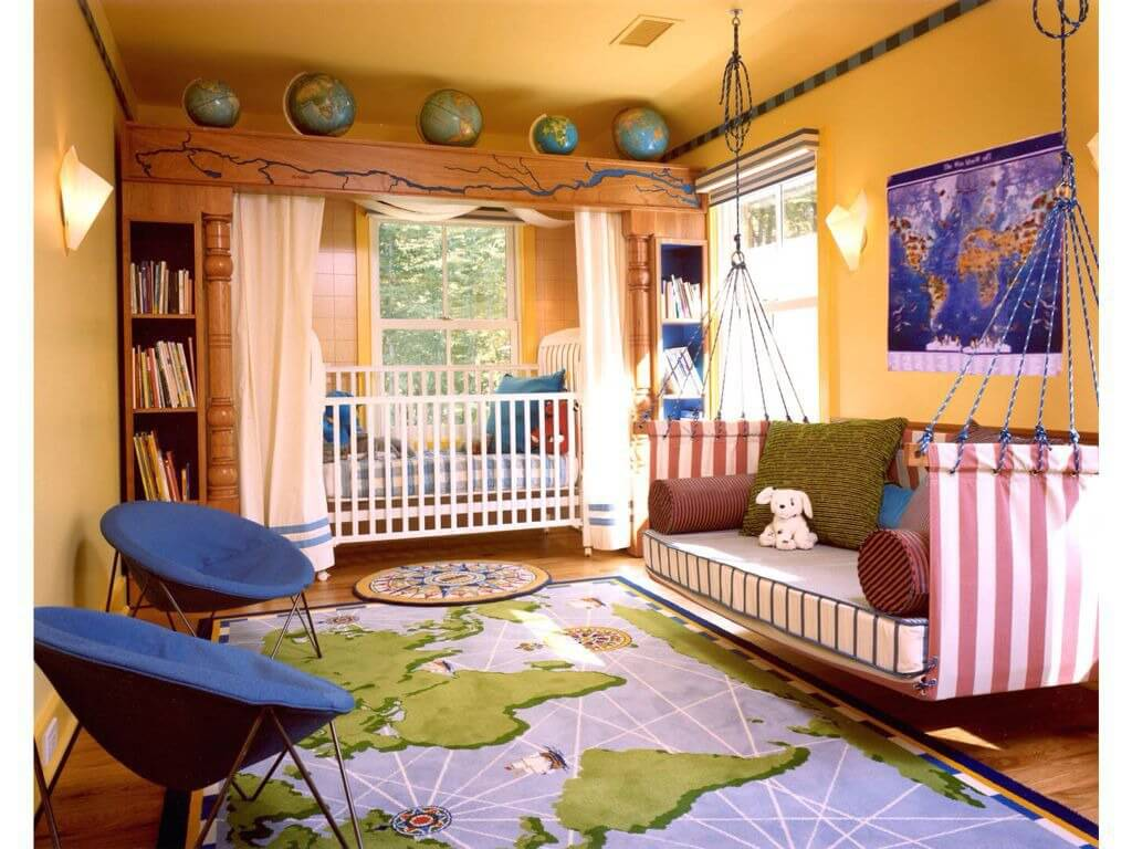 Here S A Large Geography Themed Nursery Complete With World Map Rug And Wall Painting