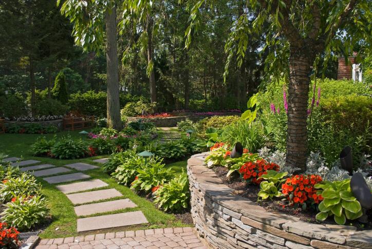 65 walkway ideas designs brick flagstone wood for Rectangular garden designs