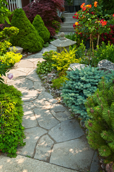 garden path defined by random shape flagstone in grey