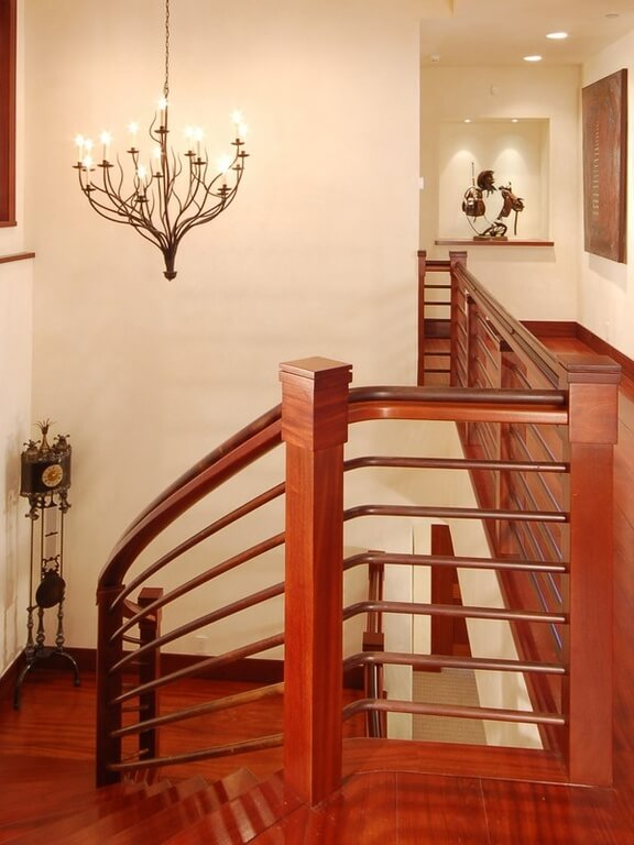 Upper landing with European mahogany throughout.