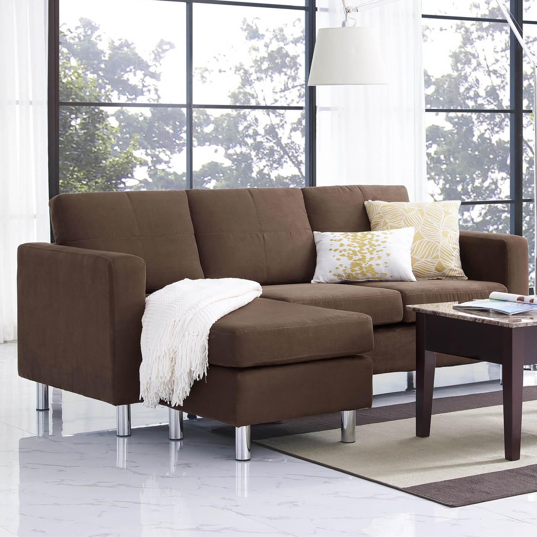 Microfiber Sectional Sofa Chocolate Microfiber Modern Reversible