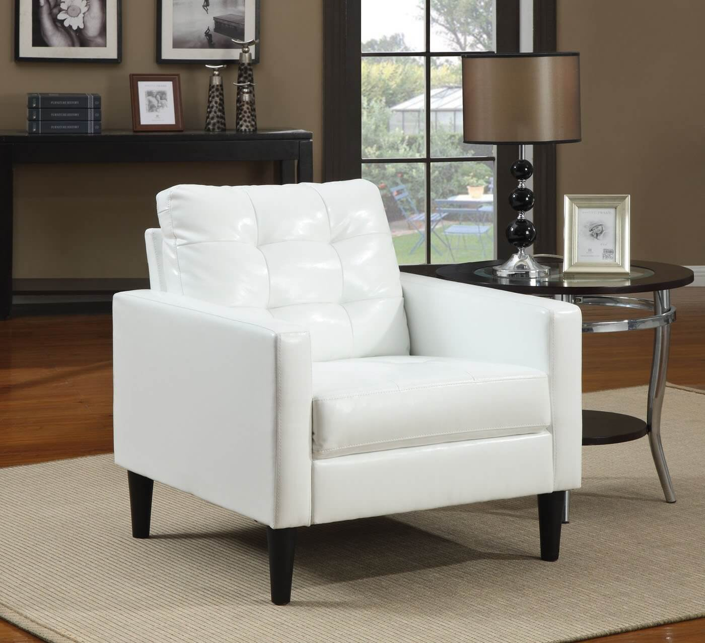 37 White Modern Accent Chairs for the Living Room Balin collection accent chair from ACME features stuffed cushion back in  polyurethane faux white leather . Accent Chair For Living Room. Home Design Ideas