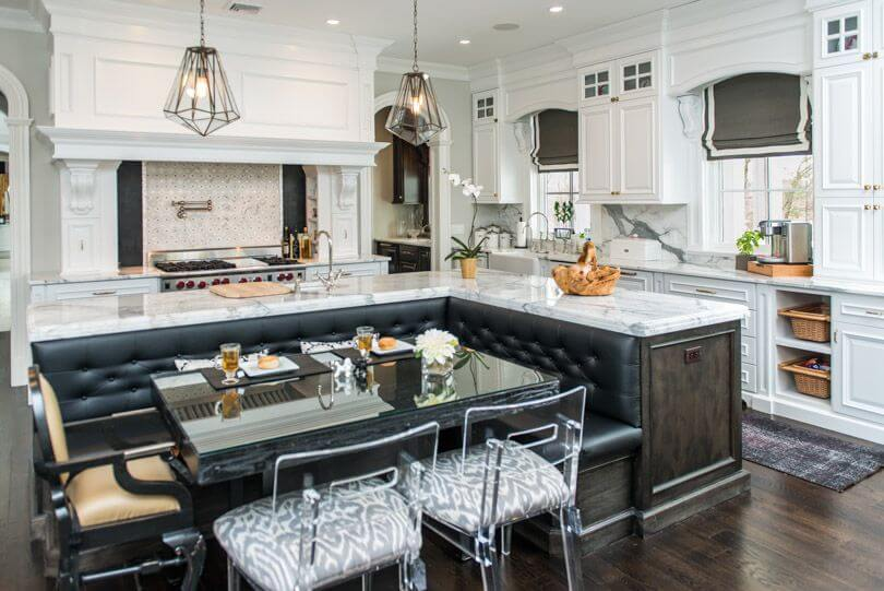 This Brilliant White Kitchen Stands Over Dark Hardwood Flooring With L Shaped Island Surrounding