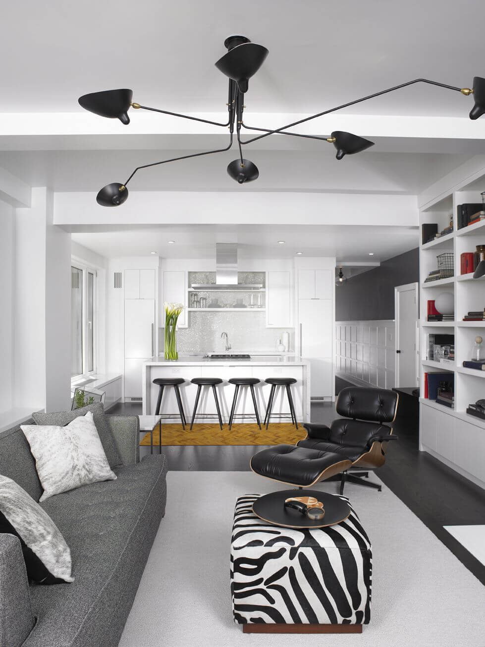 This Small Apartment Living Room In An Open Concept Living Space Features A  Small Zebra Print