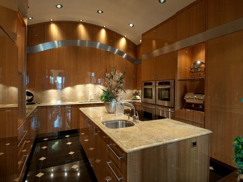 Thoroughly Modern Kitchen Flush With Glossy Polished Wood Paneling From  Floor To Arched Ceiling, Featuring
