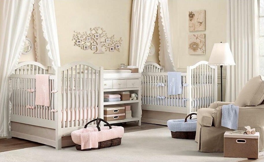 neutral beige tones over dark hardwood floor contrast with touches of pink and blue in this - Baby Room Ideas Unisex