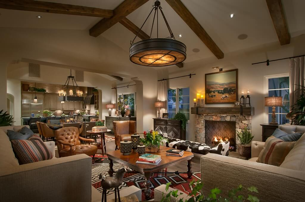southwestern living room furniture. This living room is set within a large open concept space that also  includes the Stunning Southwest Style Home with Luxurious Interior Design