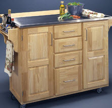 Movable Kitchen Cabinet Island With Stainless Steel Top