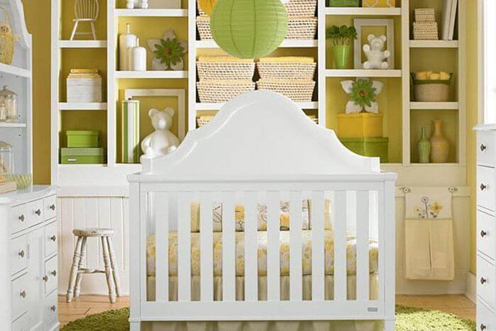 White Green And Yellow Tones Throughout This Nursery Play Into A Citrus Theme