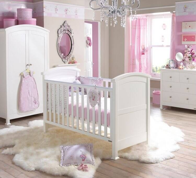 Classical Mixture Of White And Light Pink Tones In This Elegant Large Nursery Featuring