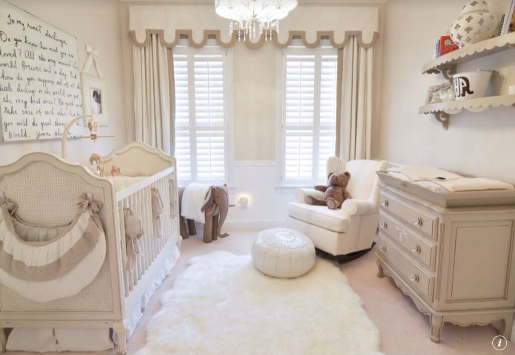 Captivating Hereu0027s Another Beige And White Nursery, Centered Around A White Fur Rug.  Reclining Armchair