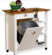 Small Kitchen Island With Wood Top, Closed Garbage Container Unit And Open  Shelving On Wheels (by Venture Horizon)