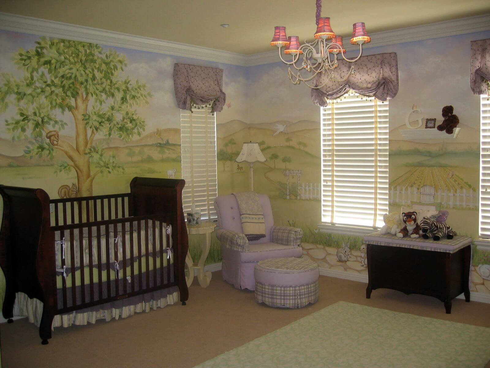 This Room Is Surrounded By Large Pastoral Painting On All Walls, Awash In  Light Violet