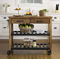 Rectangle Butcher Block Style Kitchen Cart With Shelving And Drawers By Crosley