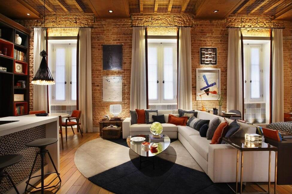 Modern Touches In Brick Walled Living Room Here Include White L Shaped Sectional Sofa