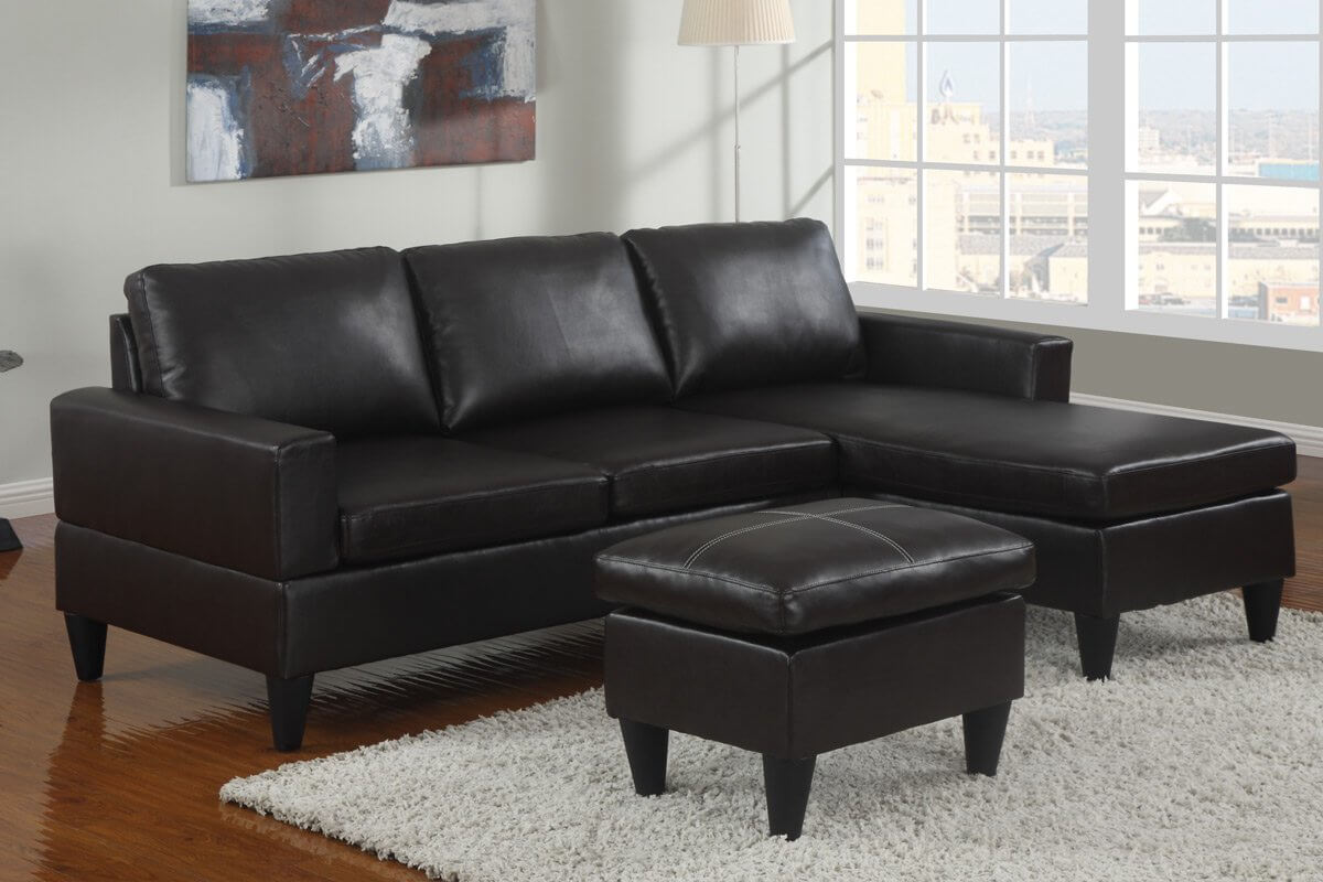 10 sectional sofas under 500 several styles for Black faux leather chaise lounge