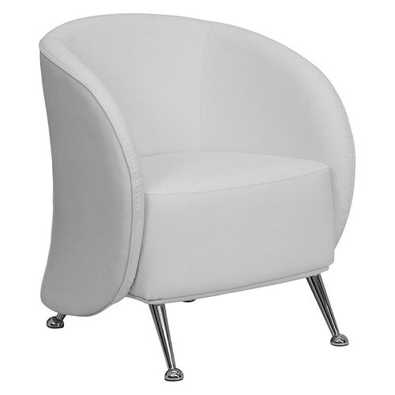 This Curved Arm And Back White Leather Chair From Flash Furniture Features  Chromed Legs With Half .
