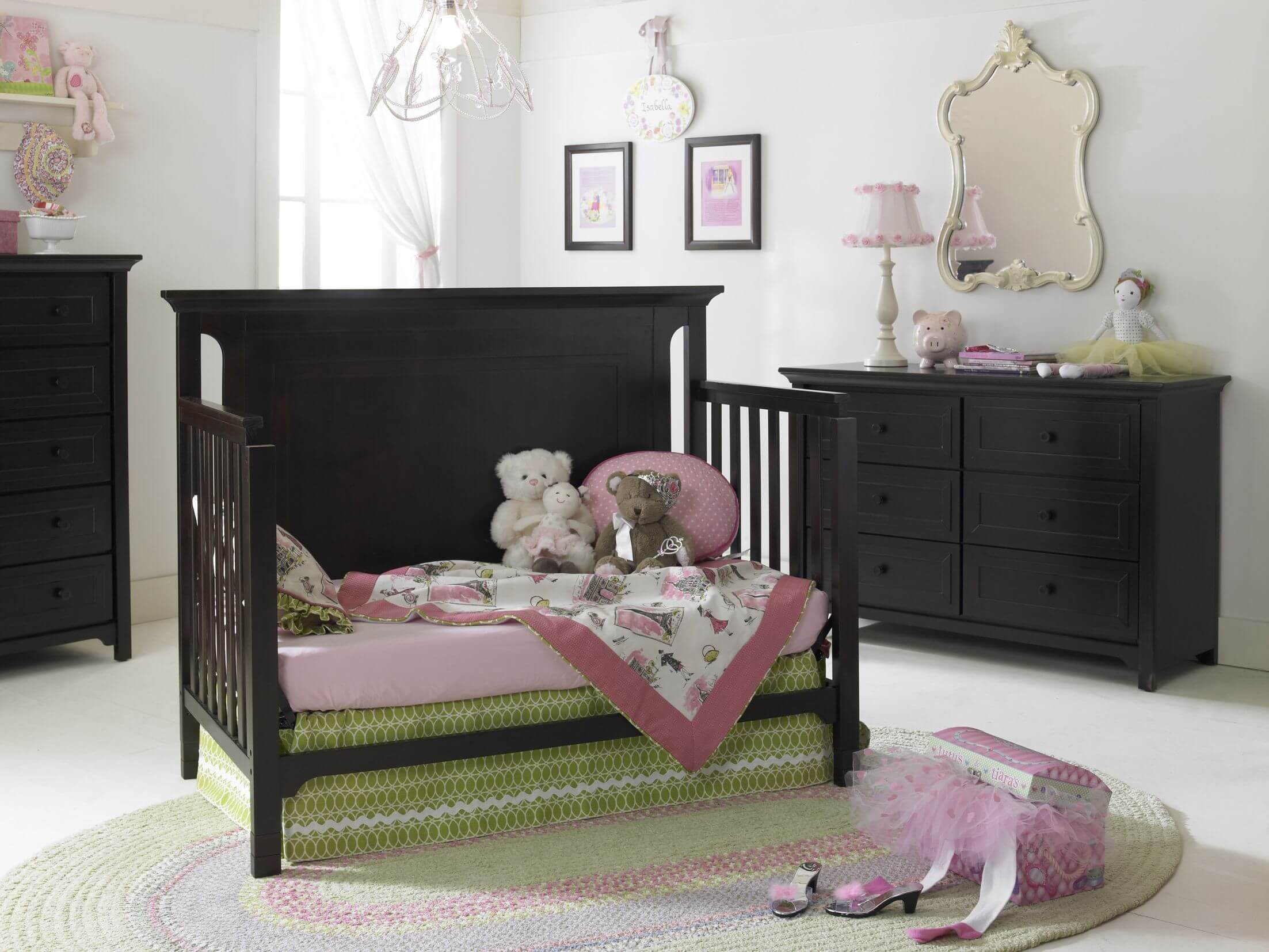 Baby cribs with matching dresser - High Contrast Theme Unifies This Nursery With Dark Wood Convertible Crib Standing Between Matching Dressers