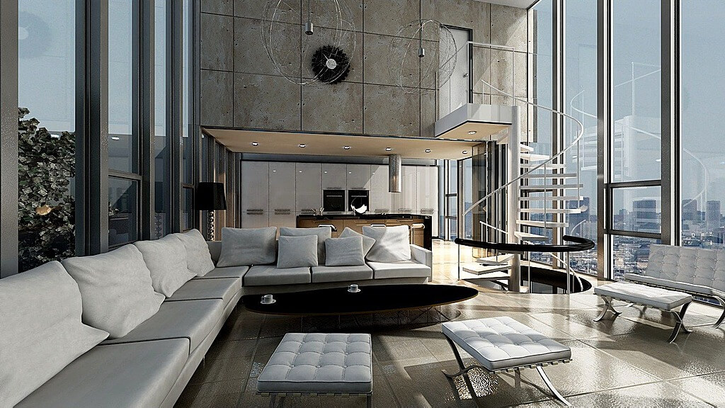 unique ultra modern living room design features floor to ceiling glass external walls metal - Living Room With Sectionals