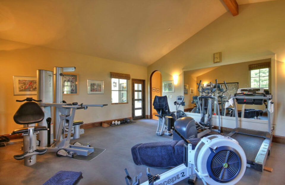 Spacious home gym.