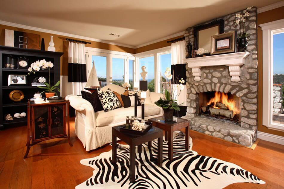 Cozy Contemporary Living Room With Wood Floor Stone Fireplace White Loveseat Two Small