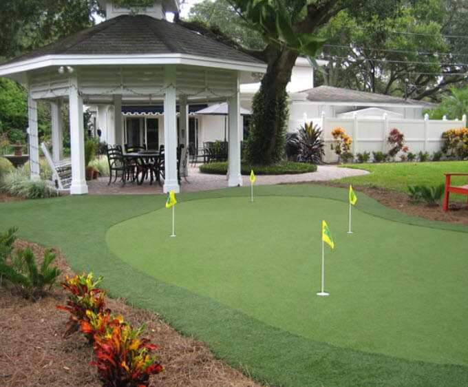 Backyard Putting Green Designs putting green brim design installation by long island ny company gappsi outdoors Gently Sloped Custom Green Here Flows From White Wood Gazebo On Brick Patio In The Backyard